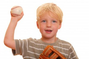 Boy throwing baseball